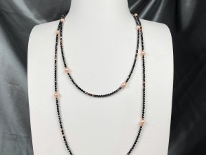 Long Pink Pearl Rose Gold Plated Hematite Necklace