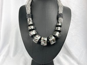 Mosaic Graduated Barrel Beads Black MOP Necklace