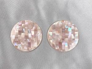 Mosaic Round Pink MOP Cabochon - Per Pair