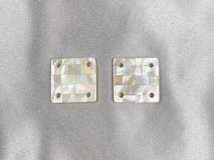 Mosaic Square White MOP Cabochon - Per Pair