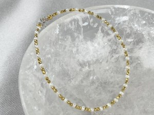 Pearl & Hematine Beads Anklet with Sterling Silver Clasp