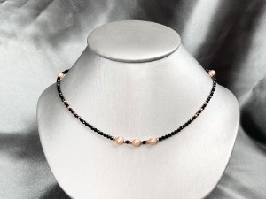 Pink Pearl Rose Gold Plated Hematite Collar Necklace