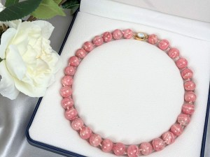 Pink Rhodochrosite Stone Necklace with Gold Plated Vermeil Sterling Silver Clasp