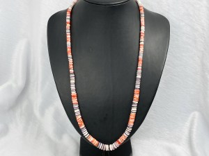 Rondelle Spiny Oyster/Wampum Shell Beaded Necklace