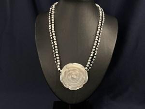 Rose Pendant White MOP Necklace