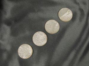 Round Dahlia White MOP Cabochon - Per Pair