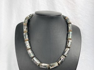 Round Tube Beads Abalone Sterling Silver Necklace
