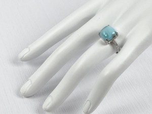 Square Larimar 925 Sterling Silver Ring
