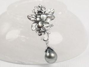 Tahitian Black Pearl Sterling Silver Filigree Pendant