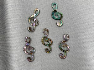 Treble Clef Note Abalone Shell Loose Piece - Per Pair