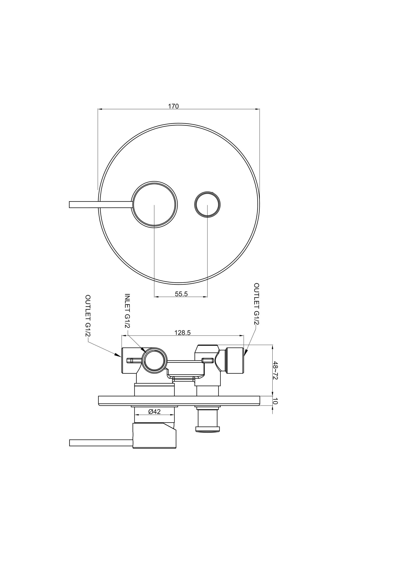 Modern Concealed Manual Shower Mixer Valve 2 Outlet Brass