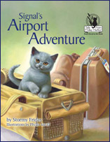 Signal and Telegraph, two British Shorthair kittens, are coming home to Friday Harbor with their new human mom and dad, Miss Splash and her husband, Mr. Bubbles. When they arrive at the airport to go on the airplane, Signal gets into all sorts of trouble. First he sets off the security alarm, and then he disappears from the waiting area. Everyone frantically searches for him until a little boy spies him in the most unlikely place!