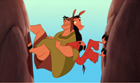 Pacha (left) and Kuzco are back-to-back in 'The Emperor's New Groove'