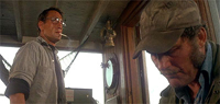 Roy Scheider (l.) and Robert Shaw hunt a man-eating shark in Steven Spielberg's classic, 'Jaws'