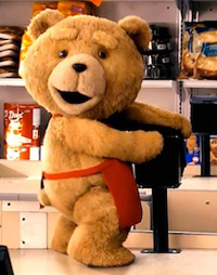 The CGI Ted, voiced by Seth MacFarlane, comes to life in 'Ted'