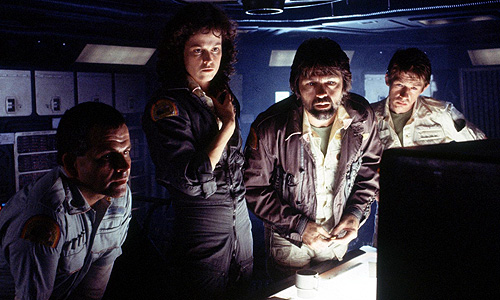 Ian Holm, Sigourney Weaver, Tom Skerritt and John Hurt encounter an unstoppable creature in 'Alien'