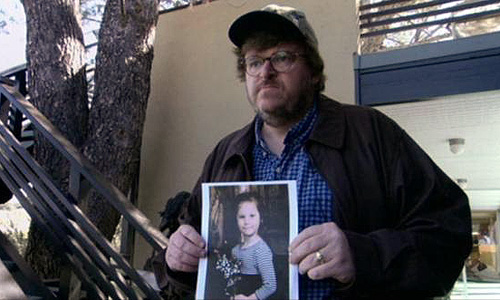 Michael Moore shows a victim of gun violence in 'Bowling for Columbine'