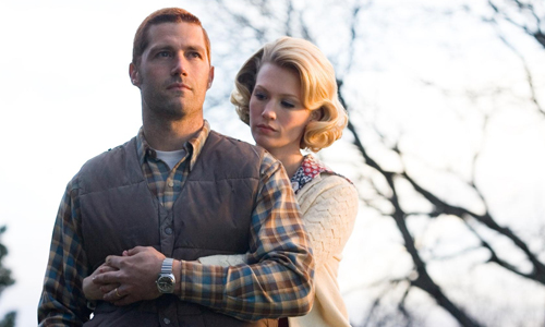 Matthew Fox and January Jones in 'We Are Marshall'