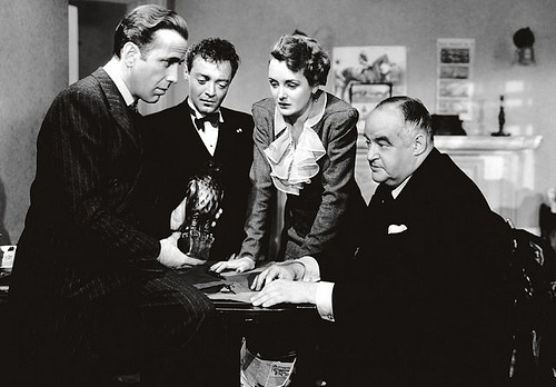 From left to right: Humphrey Bogart, Peter Lorre, Mary Astor and Sydney Greenstreet in 'The Maltese Falcon'