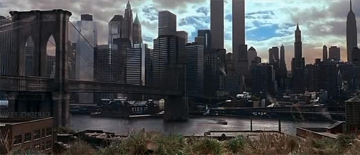 Digitally recreated Twin Towers seen at end of 'Gangs of New York'