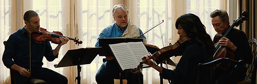 Mark Ivanir, Philip Seymour Hoffman, Catherine Keener and Christopher Walken make music together in 'A Late Quartet'