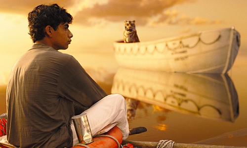 Pi (Suraj Sharma) and a Bengal tiger known as Richard Parker are stranded together on lifeboats in 'Life of Pi'
