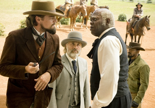 From left to right: Leonardo Dicaprio, Christoph Waltz, Samuel L. Jackson and Jamie Foxx in 'Django Unchained'