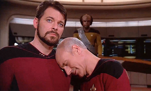 Jonathan Frakes and Patrick Stewart get close and personal on set of 'Star Trek: The Next Generation'