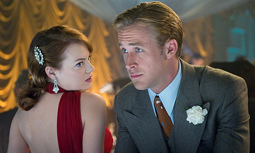 Emma Stone and Ryan Gosling in a scene from 'Gangster Squad'