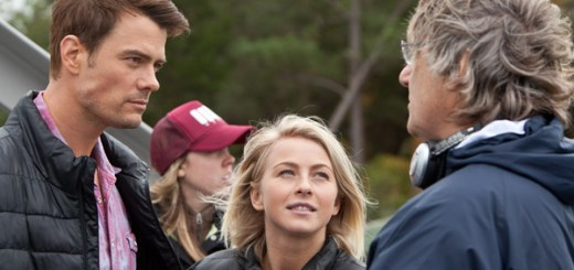 Josh Duhamel and Julianne Hough with director Lasse Hallstrom on the set of 'Safe Haven'