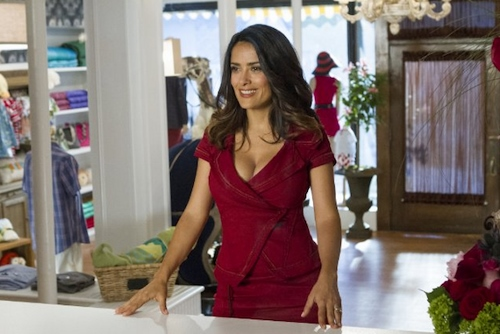 """Roxie"" (Salma Hayek) in the boutique she owns in 'Grown Ups 2'"