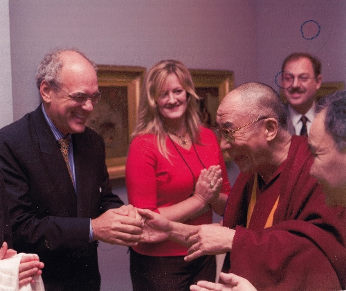 Shep Gordon welcoming the Dalai Lama to his Hawaii home