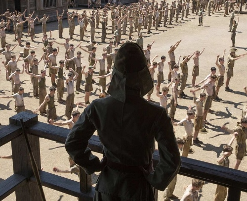 "Miyavi as Corporal Watanabe surveying the prisoners in ""Unbroken"""