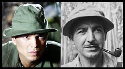 Benjamin Bratt side by side with the real Lt Colonel Henry Mucci