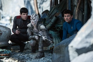 Left to right: Zachary Quinto plays Spock, Sofia Boutella plays Jaylah and Karl Urban plays Bones in 'Star Trek Beyond'