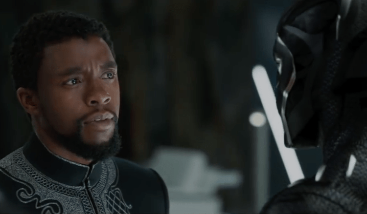 T'Challa (Chadwick Boseman) eyes his suit in 'Black Panther'