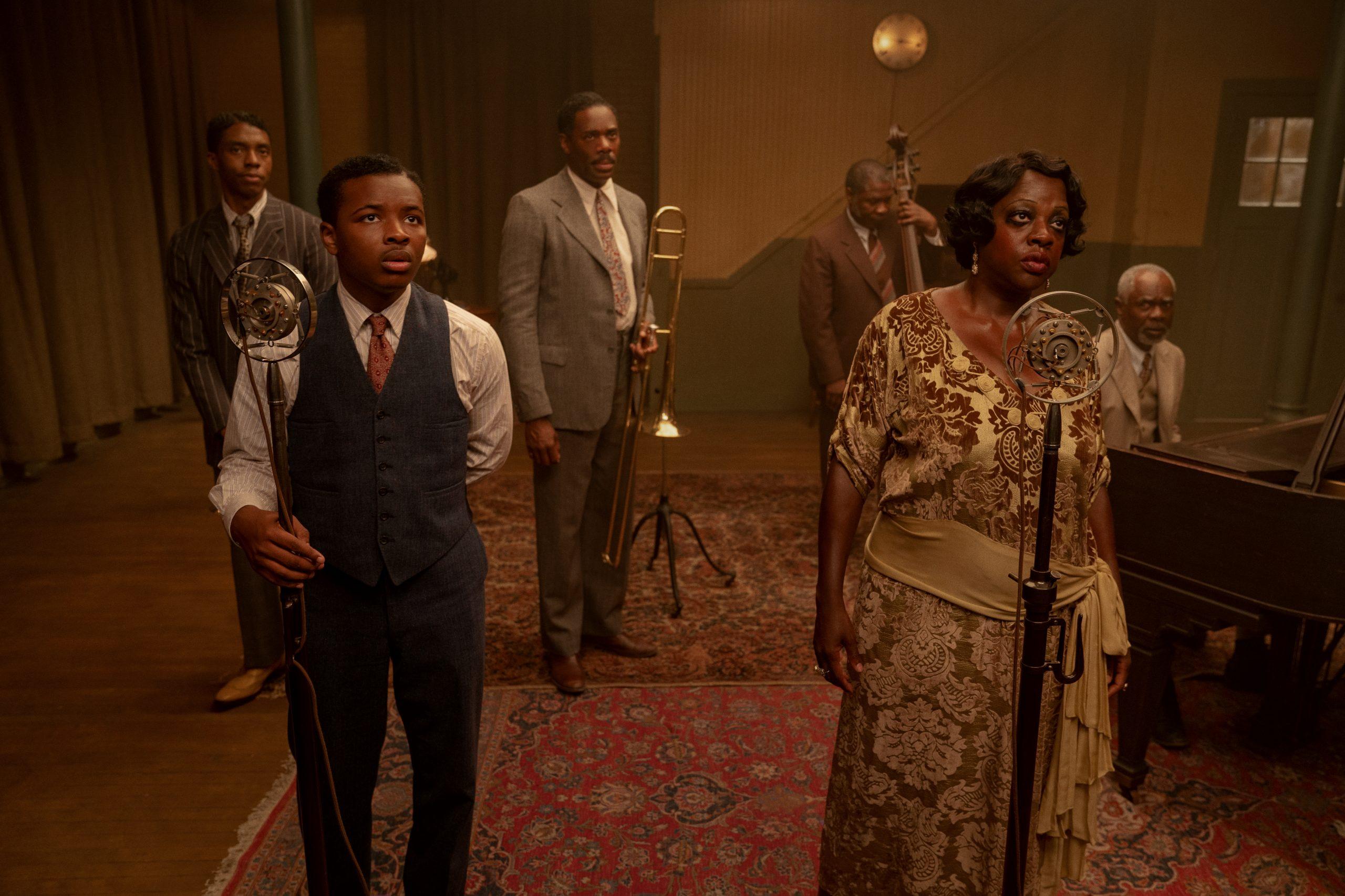 From left to right: Chadwick Boseman, Dusan Brown, Colman Domingo, Michael Potts, Viola Davis, and Glynn Turman in 'Ma Rainey's Black Bottom' on Netflix. (David Lee / Netflix)