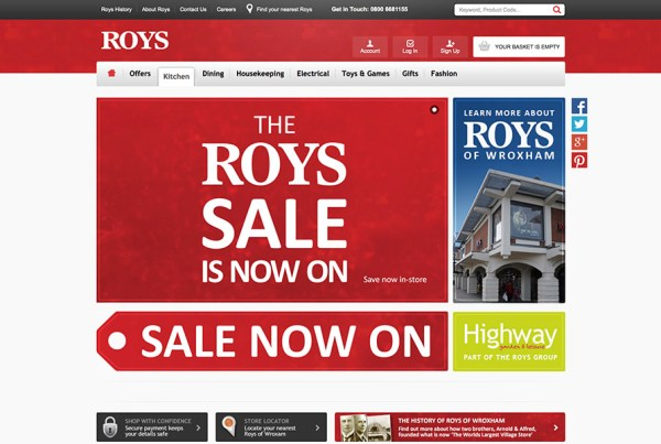Roys of Wroxham eCommerce Website Magento Store Screenshot