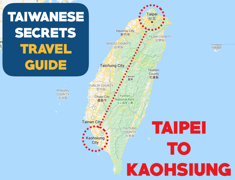 Taipei to Kaohsiung Map