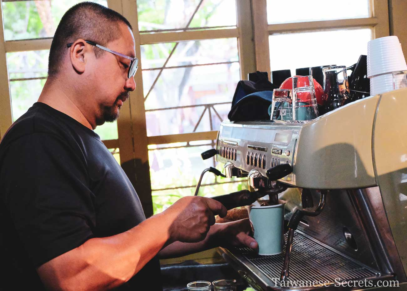 barista at a cafe in Zhongxing New Village in Nantou
