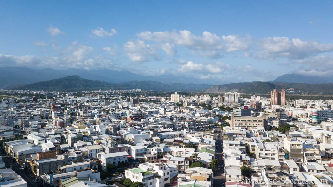 drone view of taitung city