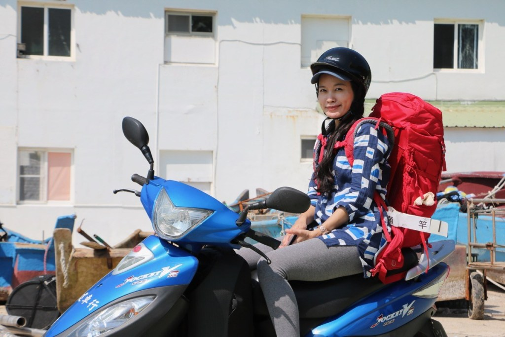 riding scooter on matsu island in taiwan