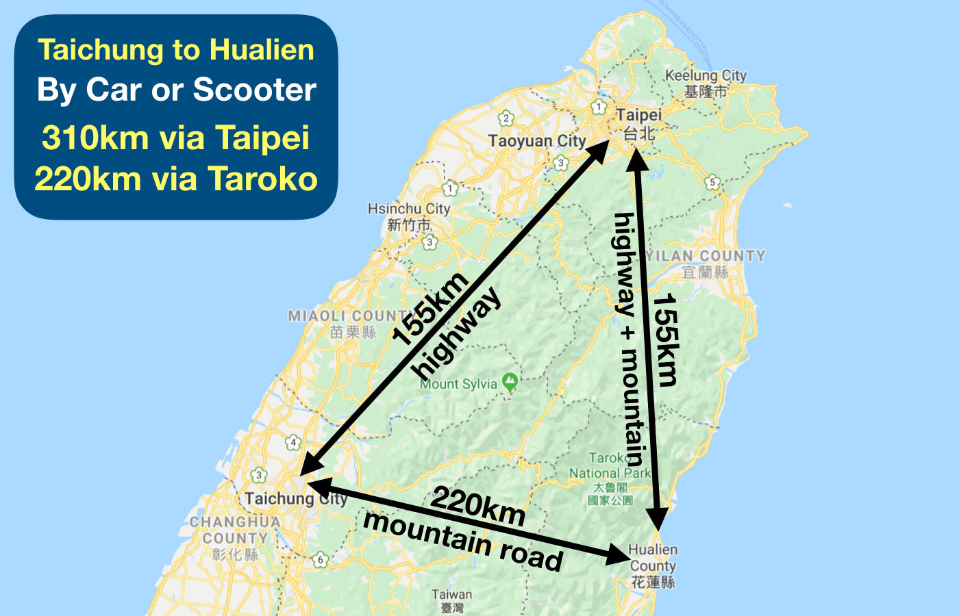 taichung to hualien transportation
