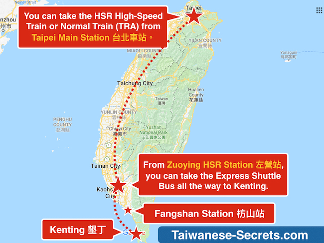 taipei to kenting by train bus