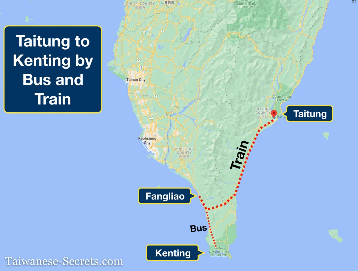 taitung to kenting map