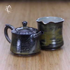Darker Weathered Tea Dust Teapot with Tea Pitcher