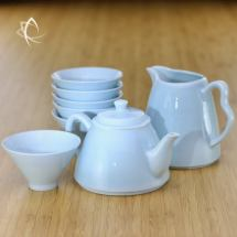 Fine-striped Milky Blue Tea Set for 6 Featured View
