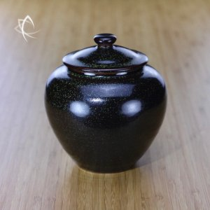 Black Speckle Glaze Large Tea Conservation Urn Featured View