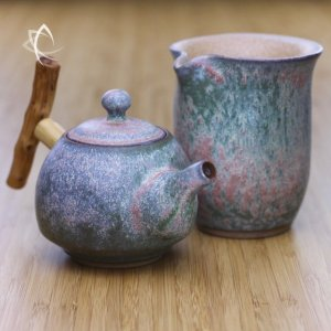 Moondust Grey Bell Shaped Teapot with Wood Handle and Moondust Grey Calla Tea Pitcher Set