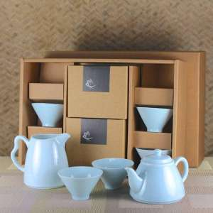 Milky Blue Tea Set for Six with Tulip Tea Cups